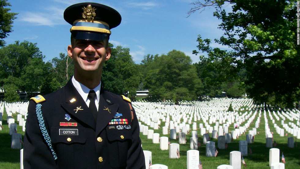 Cotton also served as a member of the Old Guard at Arlington National Cemetery -- the group of infantrymen that escorts caskets of fallen soldiers.