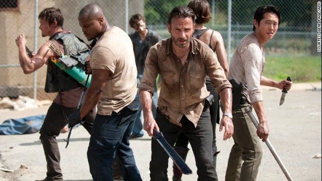 "Daryl Dixon (Norman Reedus), T-Dog (IronE Singleton), Rick Grimes (Andrew Lincoln) and Glenn Rhee (Steven Yeun) on ""Walking Dead."""