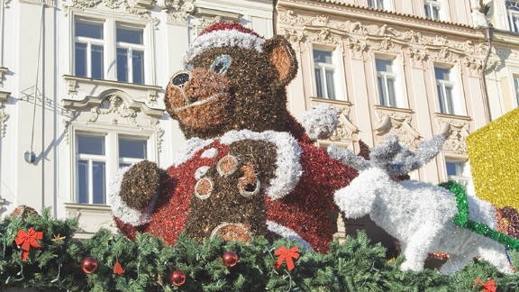 """<a href=""""http://ireport.cnn.com/people/pogomcl"""">Mary Legg</a> shot this image of the elaborate Christmas decorations in the Old Town area of her adopted home city, Prague. """"All kinds of scrumptious fast foods are to be had from freshly roasted meat over open spits to mulled wine and the ever great Czech beer,"""" she said."""