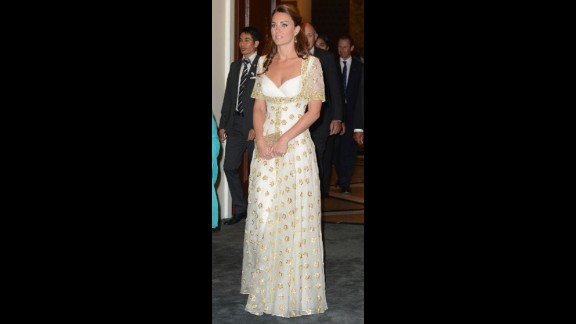 The duchess donned a white and gold gown by Alexander McQueen for a dinner hosted by Malaysia