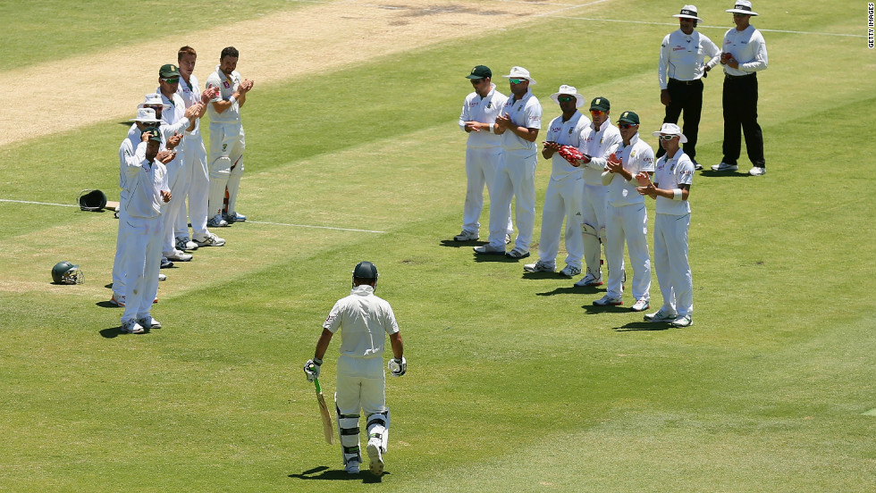 "The 37-year-old was given a guard of honor by his opponents when he went out to bat on day four. South Africa captain Graeme Smith later described Ponting as ""the player I respect the most"" following a record-breaking career."