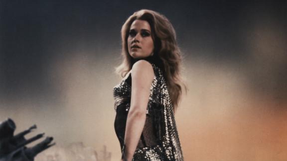"""Fonda acts in the science fiction fantasy film """"Barbarella,"""" 1968."""