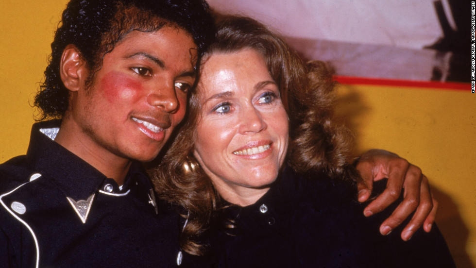 "Fonda and pop star Michael Jackson in 1983, celebrate his album ""Thriller"" and her workout album going gold."