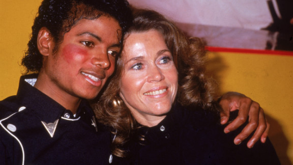"""Fonda and pop star Michael Jackson in 1983, celebrate his album """"Thriller"""" and her workout album going gold."""