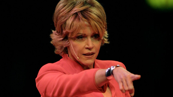 """Fonda performs at """"V-Day,"""" a gala benefit of Eve Ensler's """"The Vagina Monologues,"""" in New York in 2001. V-Day bills itself as a global activist movement to end violence against women and girls. Fonda has been an active supporter since 2000, according to the V-Day website."""