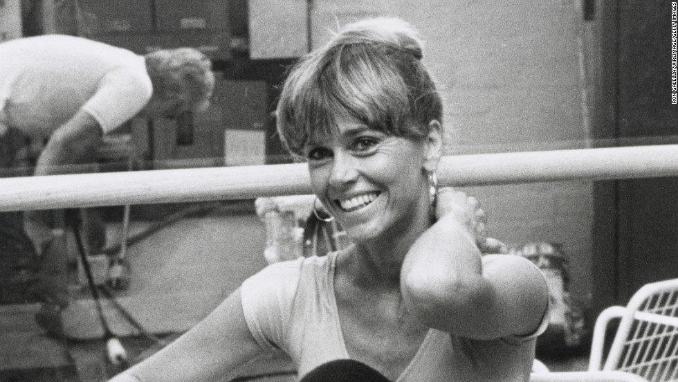 Fonda, a longtime fitness guru, pictured here in 1979, has launched a string of exercise videos spanning back two decades.