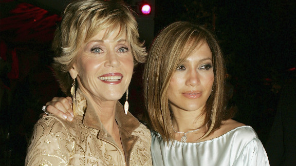 """Fonda and Jennifer Lopez appear together after the premiere of their film """"Monster-In-Law,"""" in 2005."""