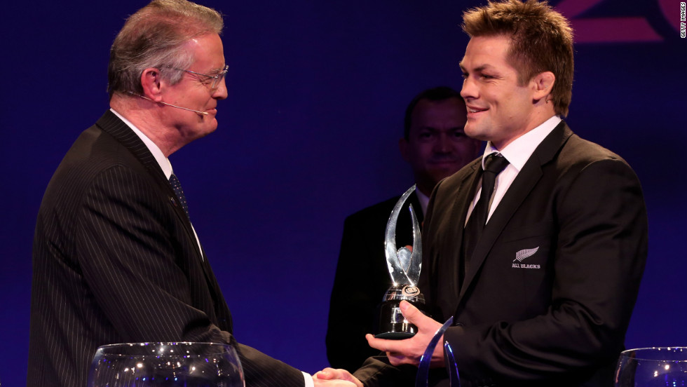 New Zealand captain Richie McCaw, right, accepted the IRB team of the year award during the ceremony in London, while his coach Steve Hansen also scooped a prize.