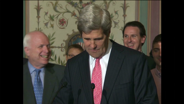 Kerry, McCain rib each other about jobs