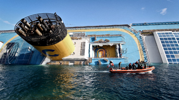 January 15: The cruise ship Costa Concordia lies stricken off the shore of the Italian island of Giglio. The ship struck a rock and turned on its side on January 13, killing 32 people from eight countries.