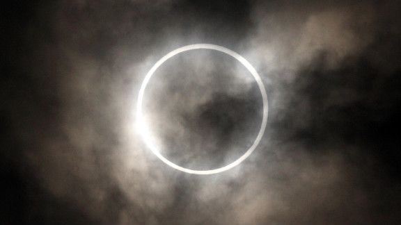 May 21: The sun is obscured by the moon during an annular solar eclipse in Tokyo.