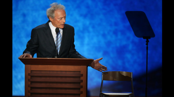 "August 30: Actor Clint Eastwood speaks on the final day of the Republican National Convention in Tampa, Florida. During his speech, he addressed an ""invisible"" President Barack Obama sitting in an empty chair."