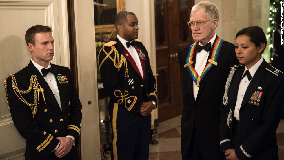 Letterman arrives at the East Room of the White House for a reception Sunday before the Kennedy Center Honors.