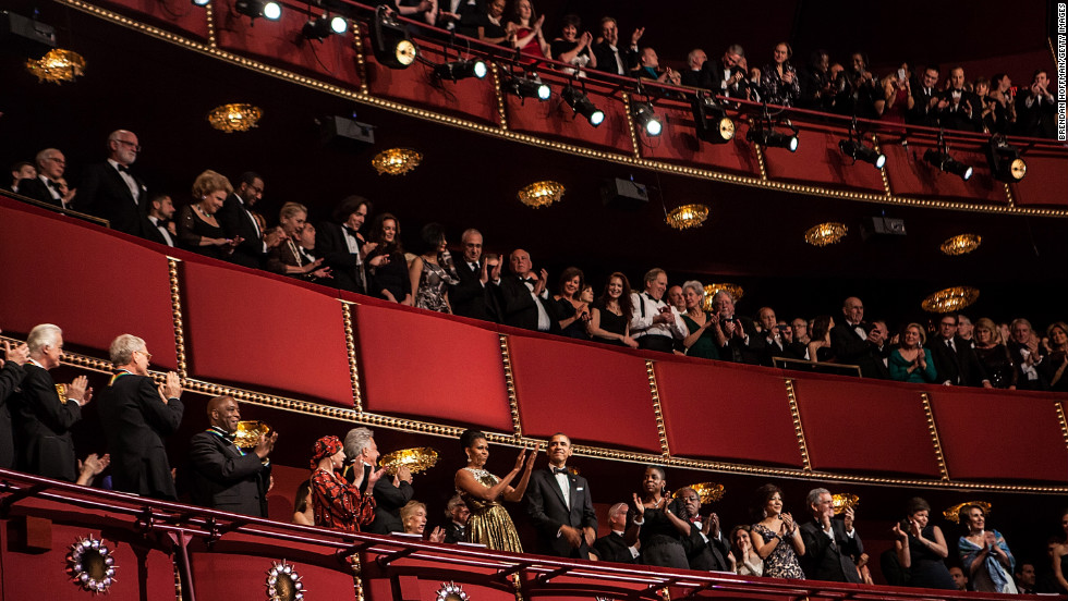 The seven honorees take their place with President Barack Obama and first lady Michelle Obama during the awards ceremony Sunday night at the Kennedy Center.