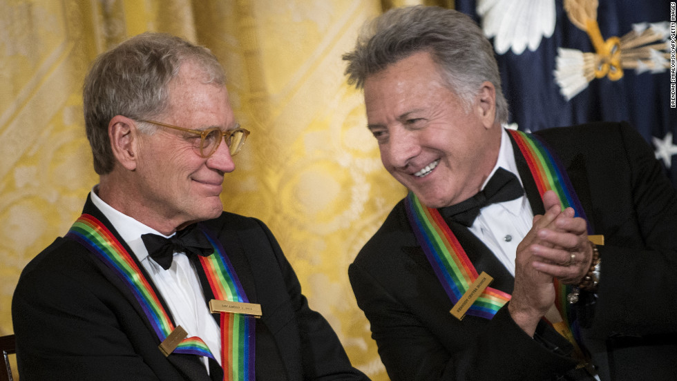 David Letterman, left, chats with Dustin Hoffman during an event Sunday in the White House East Room before the 35th Kennedy Center Honors.