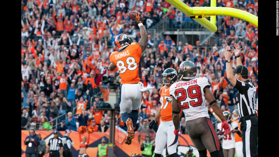 Wide receiver Demaryius Thomas of the Denver Broncos celebrates a touchdown on Sunday.