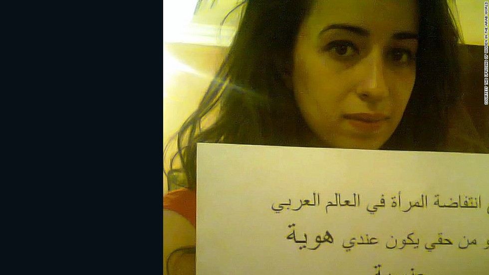 """I am with the uprising of women in the Arab world, because it is my right to have a sexual identity. Say no to female genital mutilation,"" wrote Raghida, from Jordan."