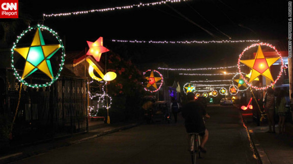 The parol lanterns are most likely nowadays to be powered by electronic lights, but their beauty still caught the eye of iReporter Stephanie Masalta.