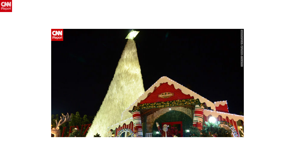 "In the Philippines, Christmas trees come <a href=""http://ireport.cnn.com/docs/DOC-887845"">in all shapes and sizes</a> -- this one in iReporter Miaflor Tatlonghari's image is at least 30ft tall and towers over Santa Claus's house in Santa Rosa city."
