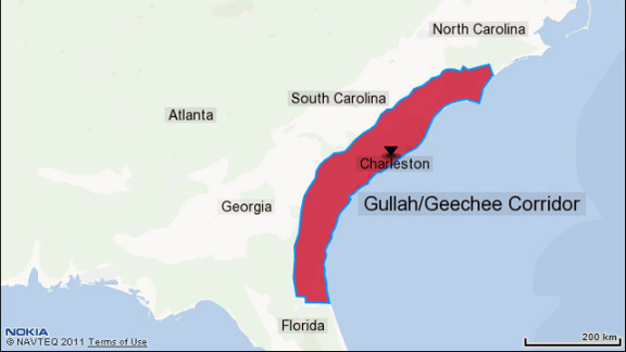 A map showing where the Gullah/Geechee communities are spread throughout the South.