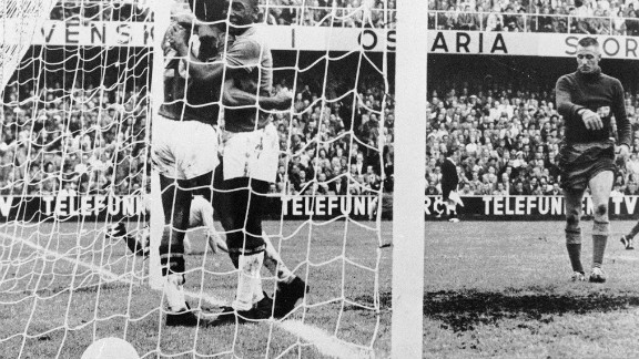 During his time in Brazil with Sao Paulo between 1957 and 1958, Guttmann introduced the 4-2-4 system which Brazil used at the 1958 World Cup. Pele is pictured here celebrating after scoring in Brazil