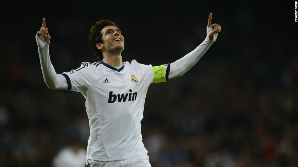 Real Madrid's Kaka celebrates becoming the all-time leading Brazilian goalscorer in Champions League history after claiming his 28th strike in the competition to overtake Rivaldo.
