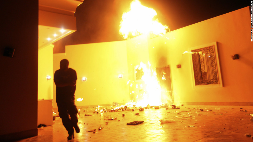 <strong>September 11: </strong>The U.S. Consulate in Benghazi, Libya, is consumed in flames. Chris Stevens, U.S. ambassador to Libya, was killed in an attack on the compound, as were three other Americans. The Obama administration has been criticized for its response to the attack.