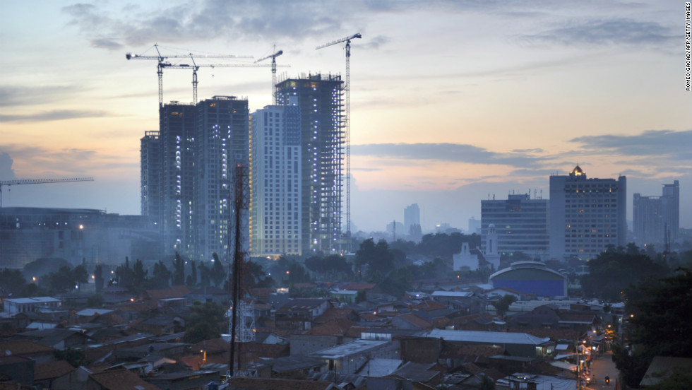 Property prices soared in cities including Jakarta (pictured) and Bali, rising by 38% and 20% respectively, as Indonesia's middle classes grew.<br />
