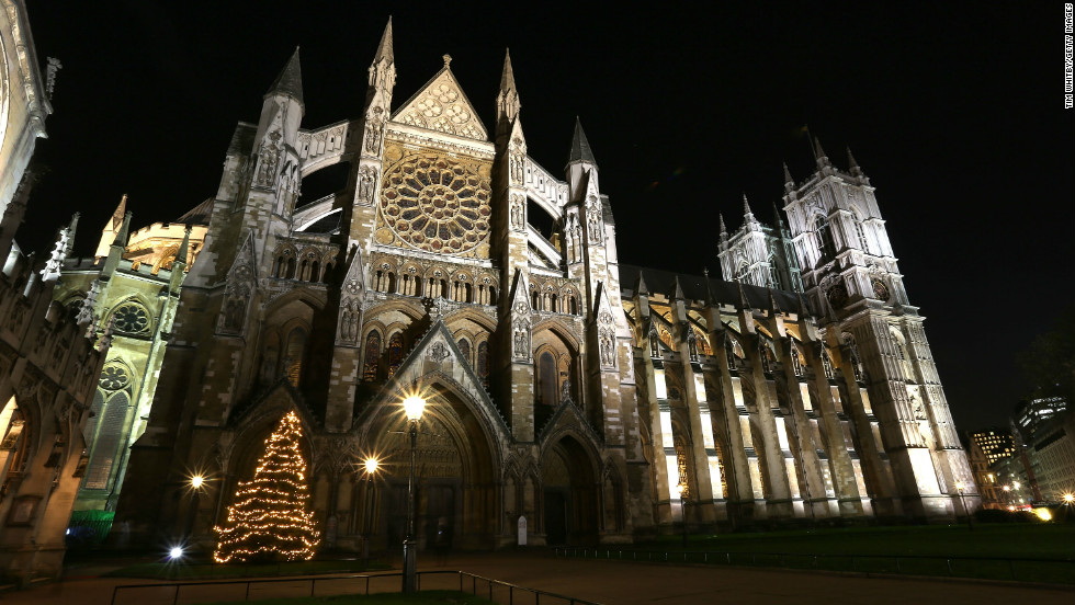 The Christmas tree stands proud at Westminster Abbey.