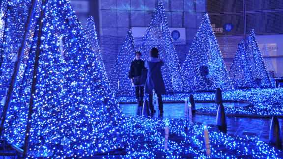 A spectacular display of color-changing LED lights in Tokyo's Shiodome.
