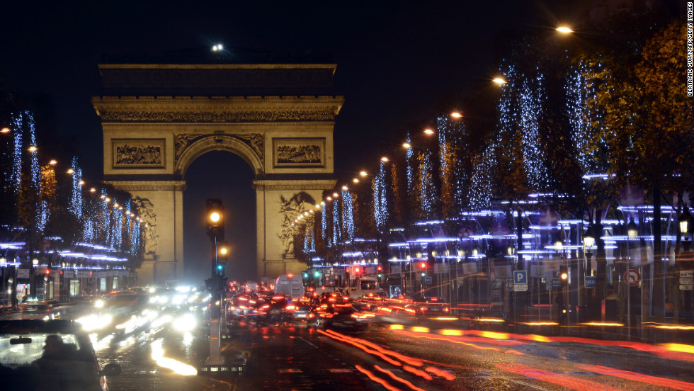 The Champs Elysees decorated with Christmas lights.