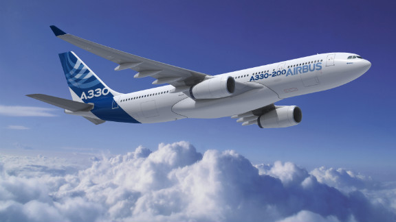 The wide-body twin-engine Airbus A330 is primarily used on medium to long-range flights. It has a large wing tip and a pointed nose. It comes in two sizes -- the A330-200 and the longer A330-300 -- and has been in service since 1994.
