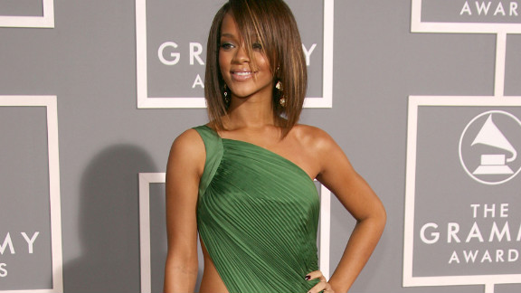 Rihanna walks the red carpet at the 2007 Grammy Awards in Los Angeles.