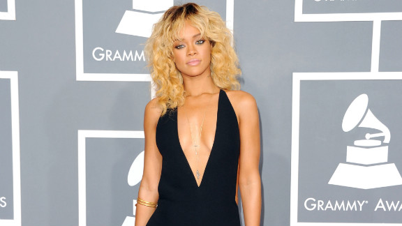 "The ""Diamonds"" singer arrives at the 2012 Grammy Awards."