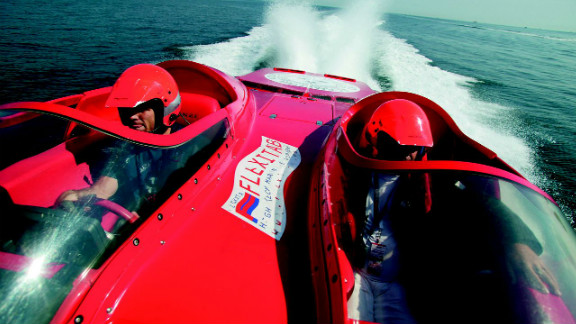 """Kos is also known for her spectacular images of the World Champion Powerboat competition. """"There was no room for me in the cockpit, so the only solution was for me to hang onto the foredeck as we sped along at 150kmph,"""" she said of this image."""