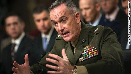 US Marine General Joseph F. Dunford, Jr. speaks during a hearing of the Senate Armed Service Committee on Capitol Hill November 15, 2012