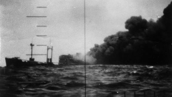 USS  Bowfin fired on this target during World War II, setting it ablaze.