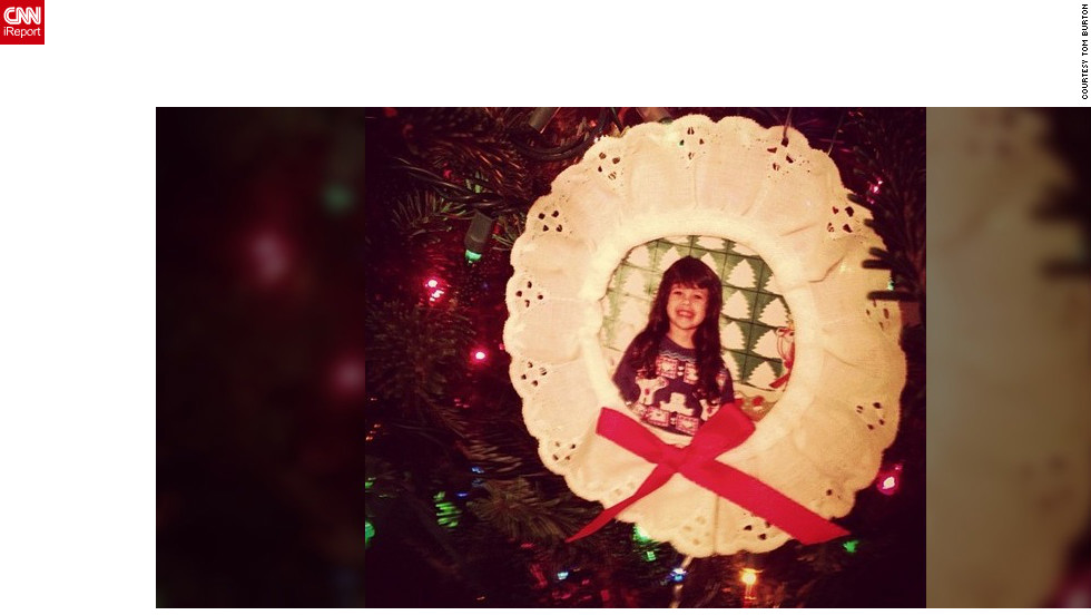 Orlando, Florida, photographer Tom Burton's (@twburton) daughter, Elise, made this ornament when she was in kindergarten and it's hung on the family's tree every year since. She's now 25 and teaches kindergarten -- and makes the ornaments with her own class.