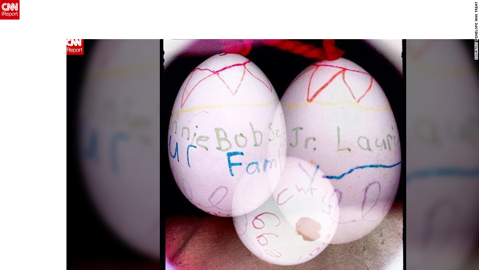 """This was a class project in 5th or 6th grade to make ornaments from hollowed eggs. I wrote all the names of our family members and also 'Our Family.' I remember that NO ONE believed the teacher when she told us we were going to blow the egg out of the shell."" -- Penelope Ann Treat (@penelopeanntreat), Palm City, Florida"
