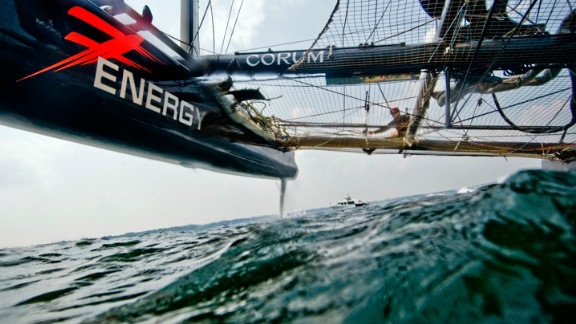 Photographer Jen Edney gets down low to take this unusual angle of  Team France training ahead of the America's Cup.