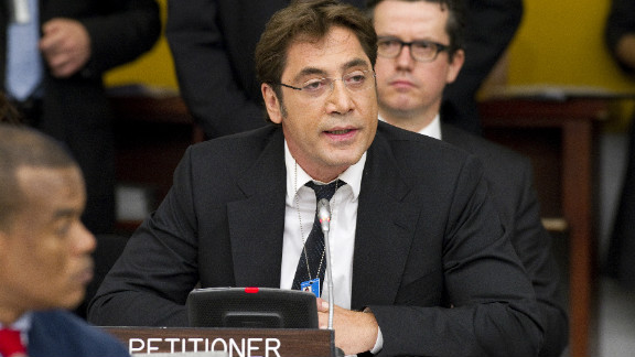 Oscar-winning Spanish actor Javier Bardem addresses the U.N. General Assembly on the issue of Western Sahara in October 2011.