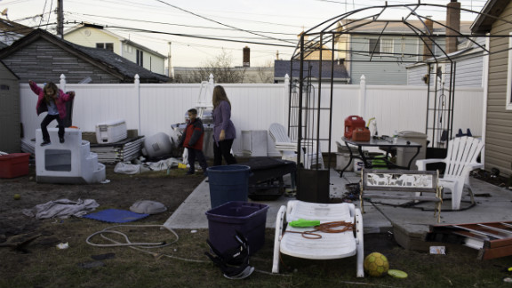 The Panetta family's house is still uninhabitable, and the backyard is in disrepair.