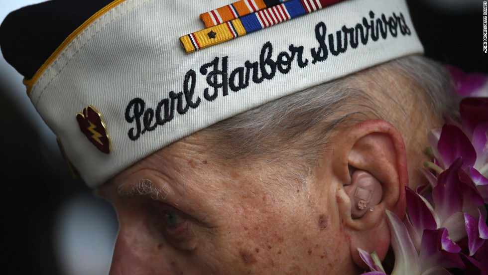 Pearl Harbor survivor Aaron Chabin, 89, attends a commemorative ceremony in Pearl Harbor, Hawaii.
