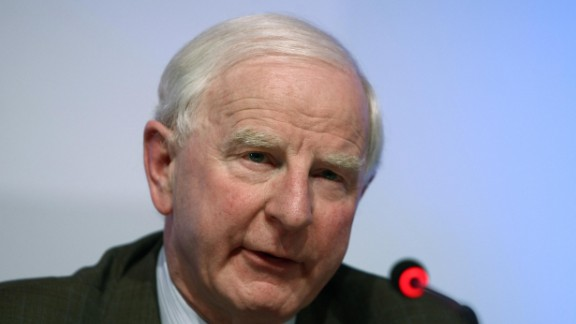 European Olympic Committee (EOC) President Patrick Hickey gives a press conference after the EOC