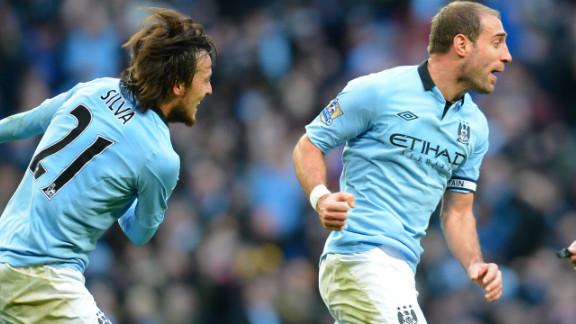 Pablo Zabaleta, right, fired an equalizer in the 86th minute to give second-placed City hope of extending a 21-game unbeaten league run that went back to last season