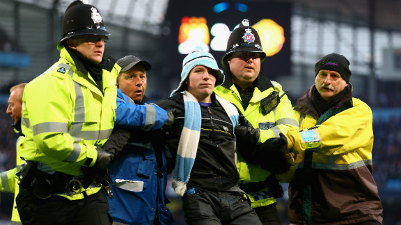 Police intervened to eject the invader, and the Greater Manchester force also announced after the match that another man was arrested inside City