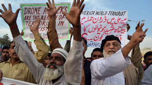 Demonstrators in Multan, Pakistan, shout anti-U.S. slogans during a protest Thursday against drone attacks.