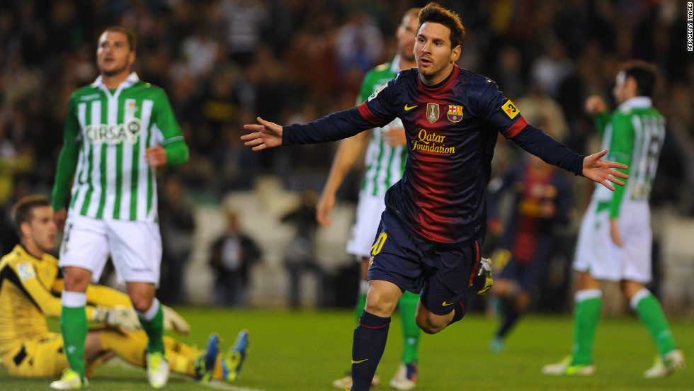Lionel Messi celebrates after matching Gerd Muller's record of 85 goals in a calendar year, netting in the 16th minute of Barcelona's match against Real Betis in December 2012. Just nine minutes later the Argentina star passed the German's 1972 milestone.