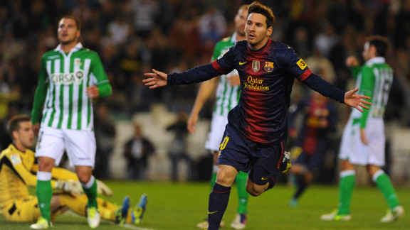 Lionel Messi celebrates after matching Gerd Muller
