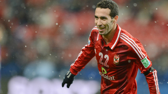 Al-Ahly substitute Mohamed Aboutrika celebrates after scoring the deciding goal against Japan